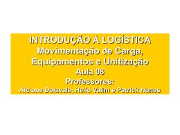 Aula 08 - Movimentação de Cargas, Equipamentos e Unitização