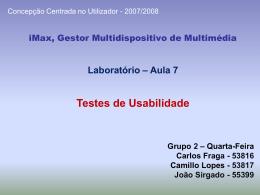 Laboratório 2 – Grupo 1 – Quarta