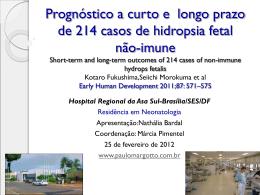 Prognóstico a curto e longo prazo de 214 casos de hidropsia fetal