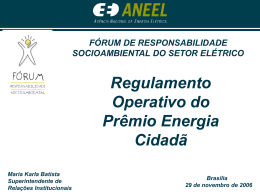 Regulamento Operativo do Prêmio Energia Cidadã