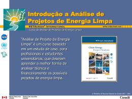 Introdução a Análise de Projetos de Energia Limpa