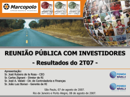 Reunião Pública com os Investidores
