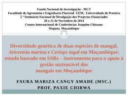 Diversidade Genetica de 2 especies de Mangal em Mocambique