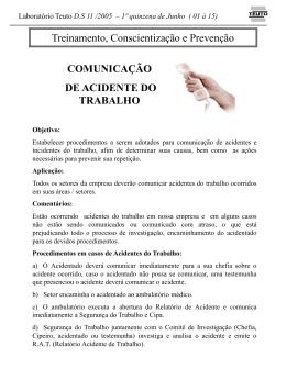 DS 11 - COMUNICA??O ACIDENTE DE TRABALHO