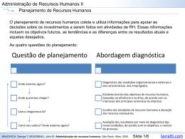 Planejamento e avaliação de Recursos Humanos