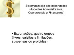 Sistematização das exportações (Aspectos Administrativos