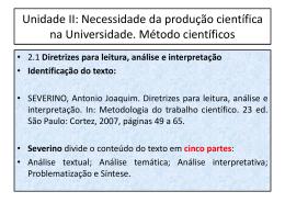 Unidade II: Necessidade da produção científica na Universidade
