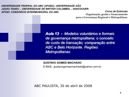Modelos voluntários e formais de governança metropolitana