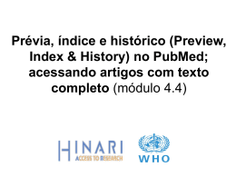 Prévia, índice e histórico (Preview, Index & History) no PubMed