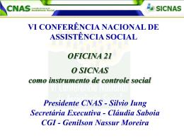 Oficina 21 - SICNAS como instrumento do Controle Social
