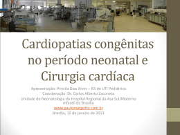 Cardiopatias congênitas no período neonatal e Cirurgia cardíaca