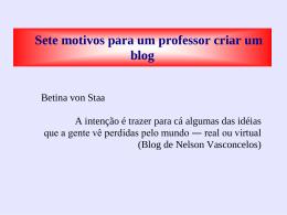 Sete motivos para um professor criar um blog