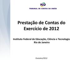 Prestação de Contas do Exercício 2012 (TCU)