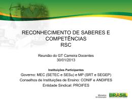 RECONHECIMENTO DE SABERES E COMPETÊNCIAS