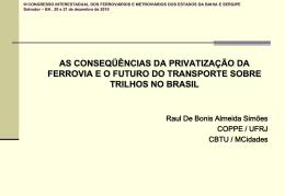 III CONGRESSO INTERESTADUAL DOS FERROVIÁRIOS E