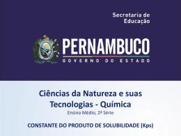 CONSTANTE DO PRODUTO DE SOLUBILIDADE (Kps)