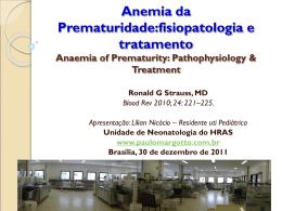 Anemia da prematuridade:fisiopatologia e