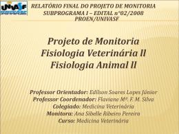 Projeto de monitoria fisiologia animal ll