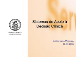 Apoio à Decisão Clínica - Curso de Informática Médica