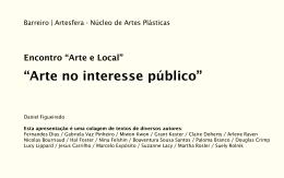 """APRESENTAÇÃO/TEXTO """"Arte no interesse público"""""""