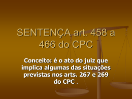 REQUISITOS ESTRUTURAIS DA SENTENÇA: art. 458 do