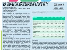AS RECEITAS CORRENTES DO MUNICÍPIO DE