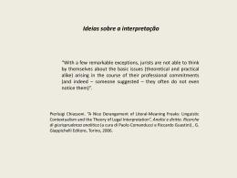 Ideias sobre a interpretação - Faculdade de Direito da UNL