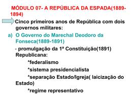MÓDULO 07- A REPÚBLICA DA ESPADA(1889