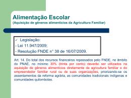 aquisição de gêneros alimentícios da agricultura familiar