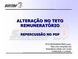 ALTERAÇÃO NO TETO REMUNERATÓRIO