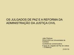 Os Julgados de Paz e a Reforma da Administração da Justiça