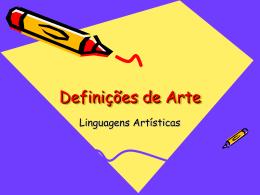 Aula 1 Definições de Arte. - Professor