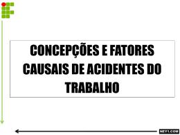 CONCEPÇÕES E FATORES CAUSAIS DE ACIDENTES