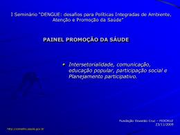 Intersetorialidade, comunicação, educação popular