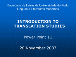 Faculdade de Letras da Universidade do Porto Línguas e