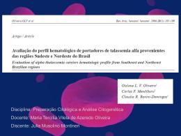 Avaliação do perfil hematológico de portadores de talassemia alfa