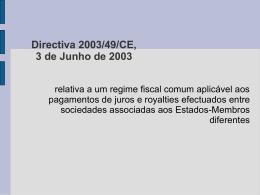 Directiva 2003/49/CE, 3 de Junho de 2003
