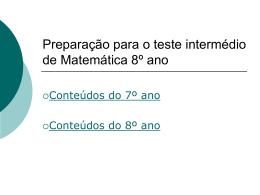 Preparação para o teste intermédio de Matemática 8º ano