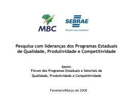 Pesquisa com Lideranças - Movimento Brasil Competitivo