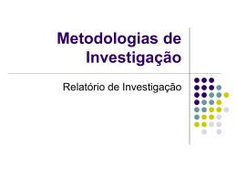 Relatório de Investigação