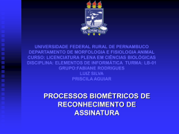 PROCESSOS BIOMÉTRICOS DE RECONHECIMENTO DE
