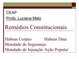 Remédios Constitucionais Habeas Corpus Habeas Data