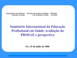 A organização do SCC/PROFAE