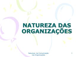 ADMINISTRAÇÃO - NATUREZA DAS ORGANIZAÇÕES E NATURE