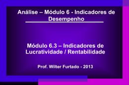Indicadores de Desempenho - Lucratividade - Rentabilidade