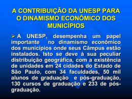 a contribuição da unesp para o dinamismo econômico dos municípios