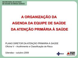 A organização da Agenda da Equipe de Saúde da Atenção Primária