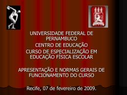Apresentação (1a aula) - Universidade Federal de Pernambuco