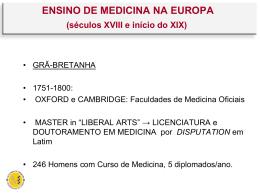 ENSINO DE MEDICINA NA EUROPA (séculos XVIII e início