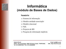 Transparências: Sistemas de informação